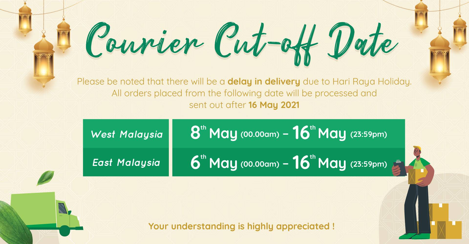 Courier Cut-off Date for Raya