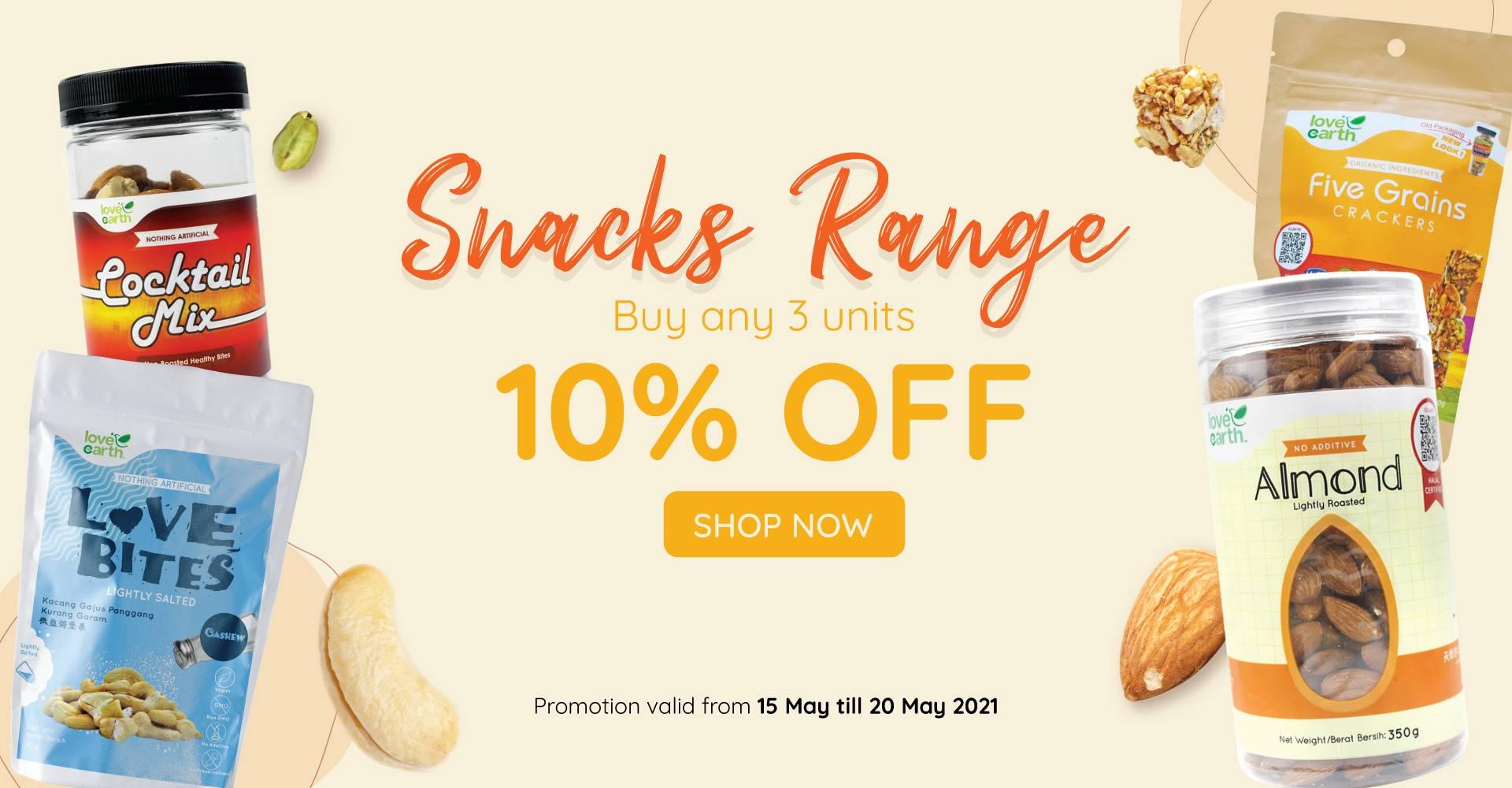 Snacks Range Buy 3 @ 10% Off