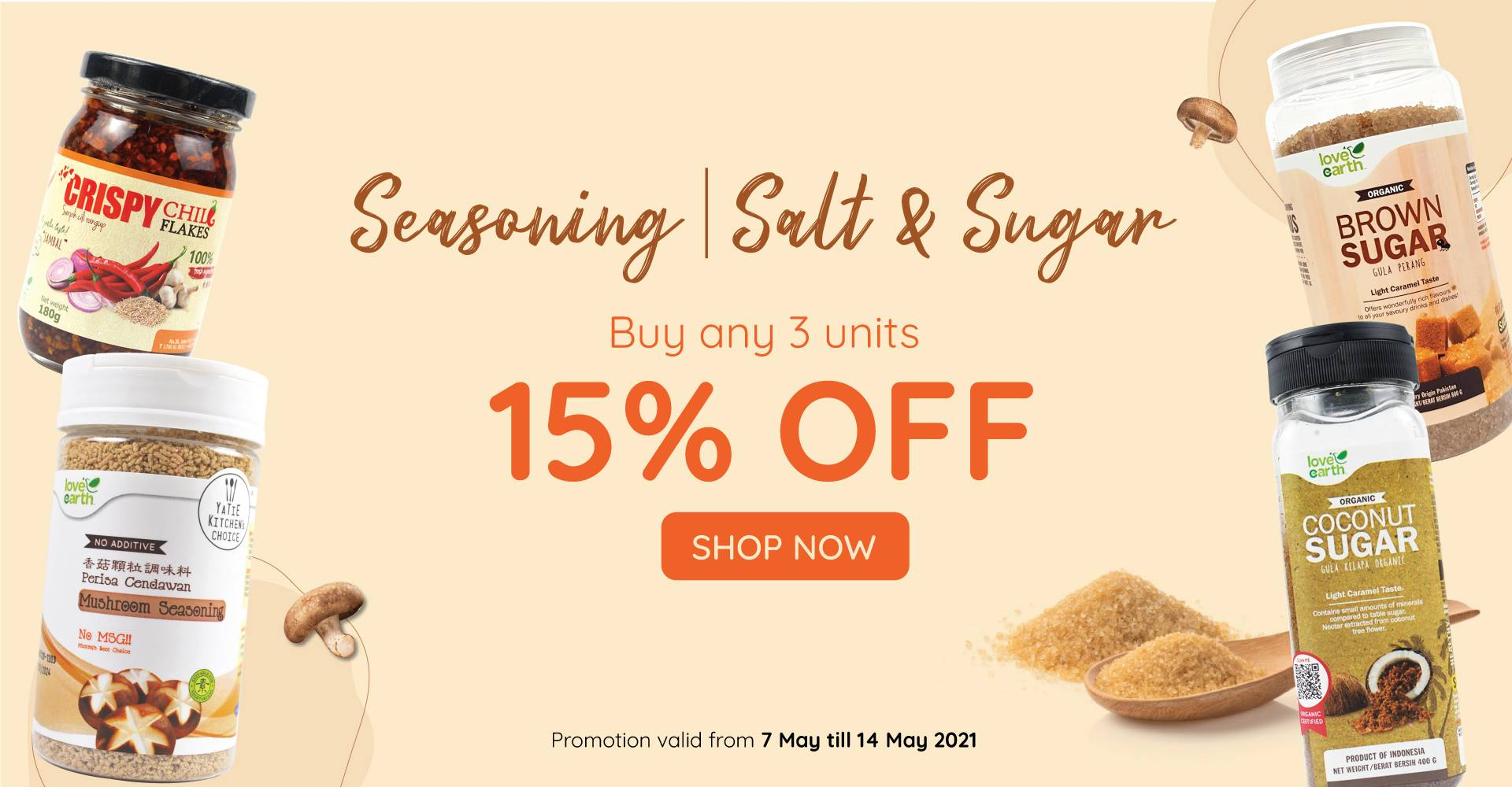 Seasoning + Salt & Sugar - Buy any 3 get 15% off