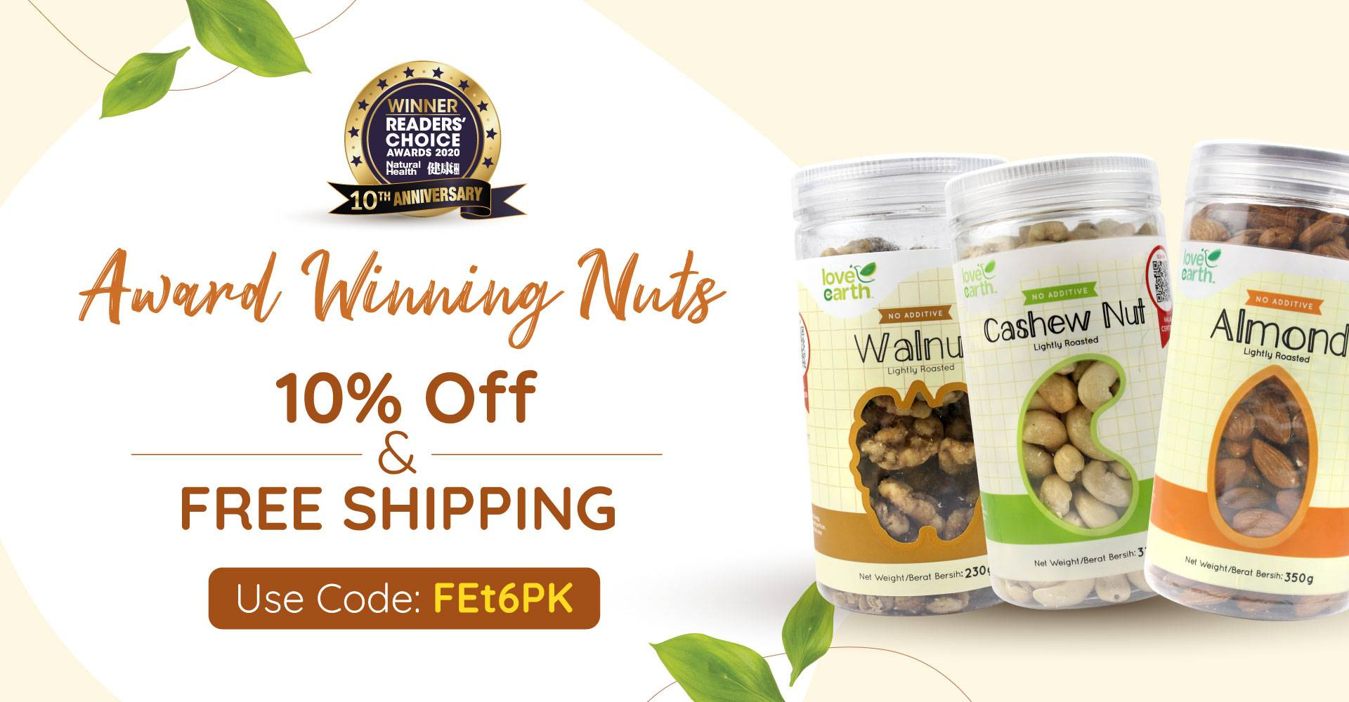 Award Wining Roasted Nut 10% Off + Free Shipping