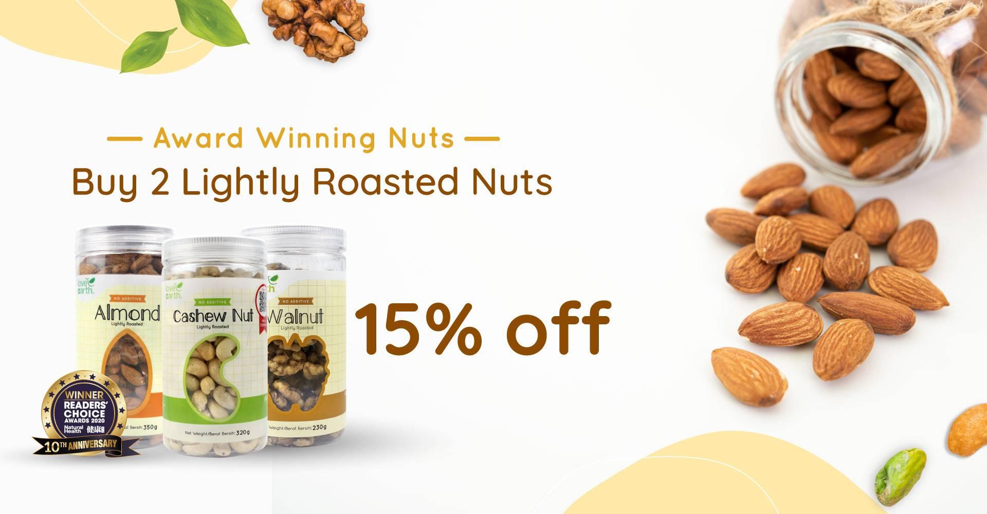 Award Winning Roasted Nut Buy 2 @ 15% OFF